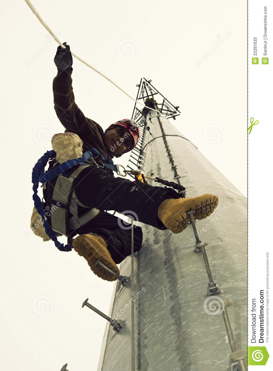 Cell Tower Climber Stock Image Image Of Tower Professional 22281633