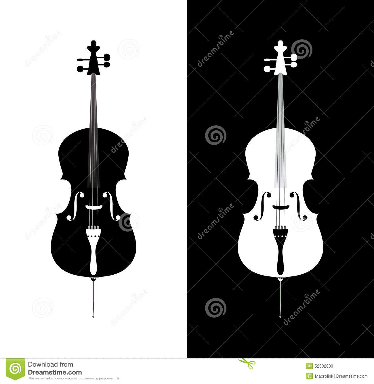 Download Cello In Black And Blue Colors Stock Vector