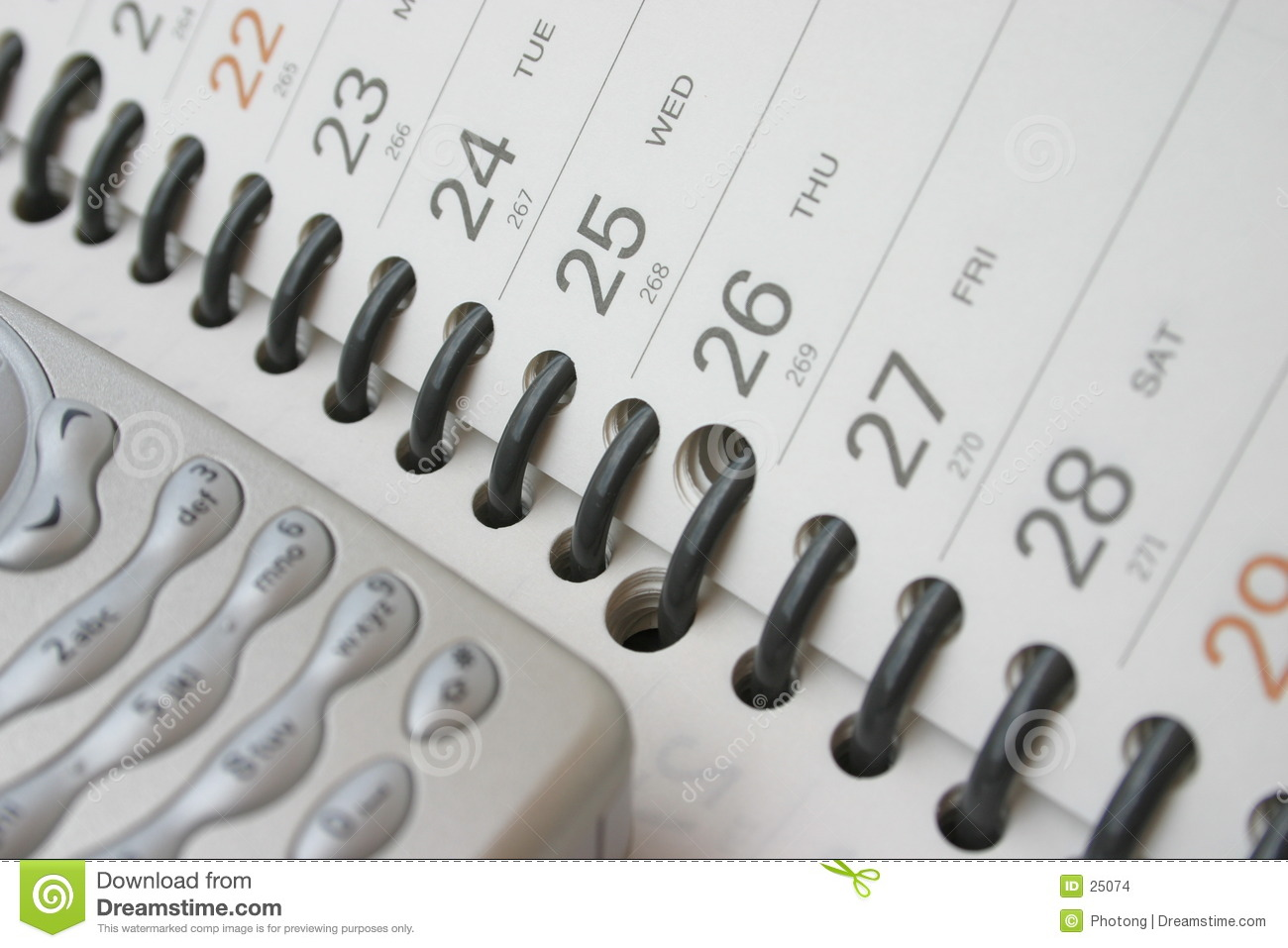 Cellphone on planning diary