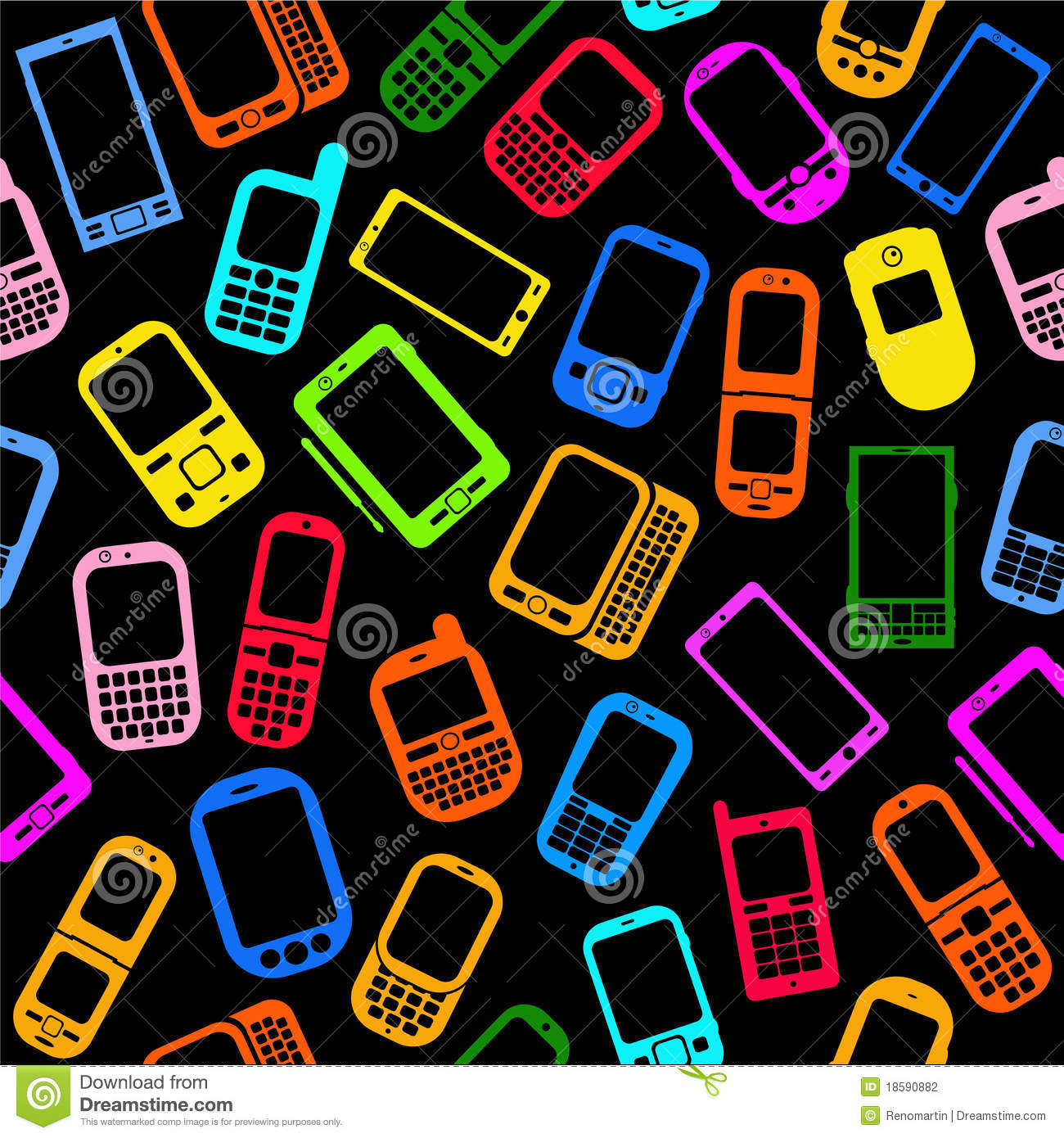 Cellphones And Smartphones Seamless Pattern Stock Photography - Image ...