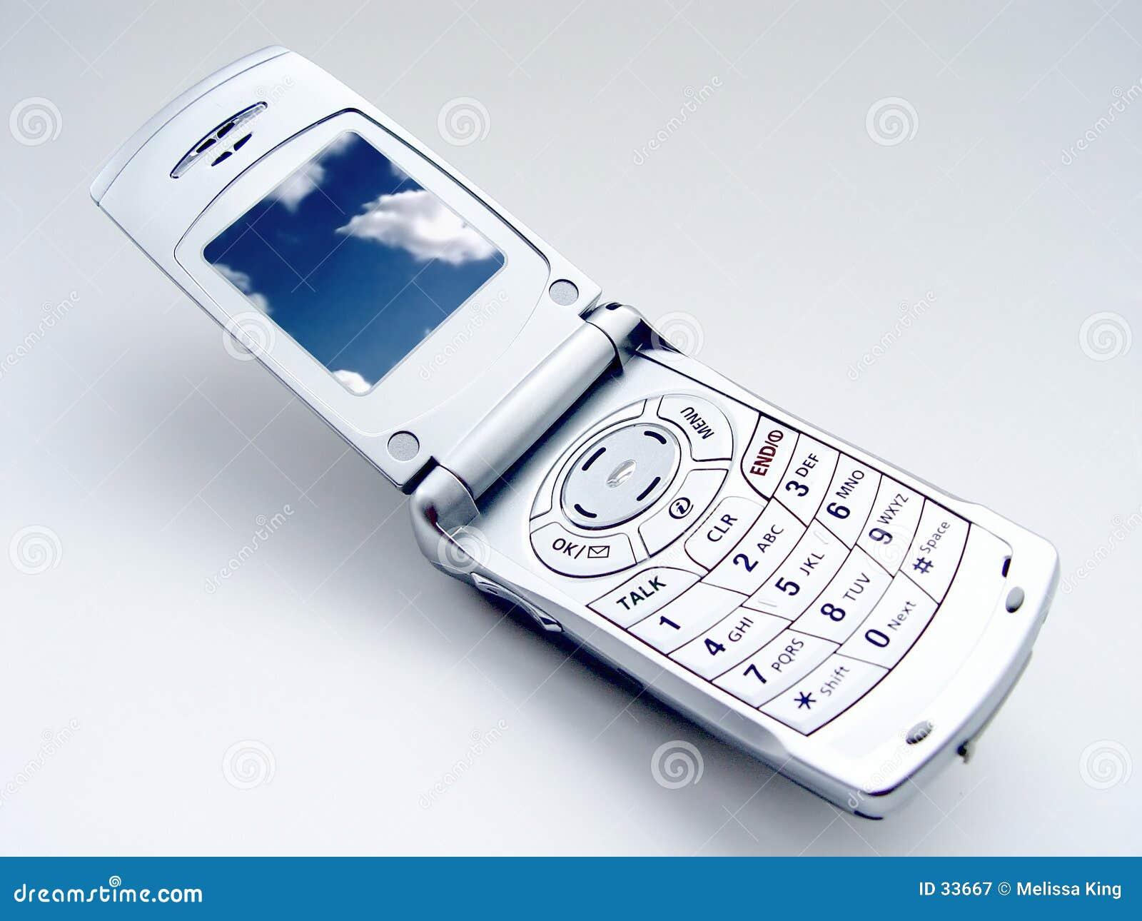 Download Cellulaire Telefoon Met Wolken Stock Afbeelding - Afbeelding bestaande uit cellulars, zilver: 33667