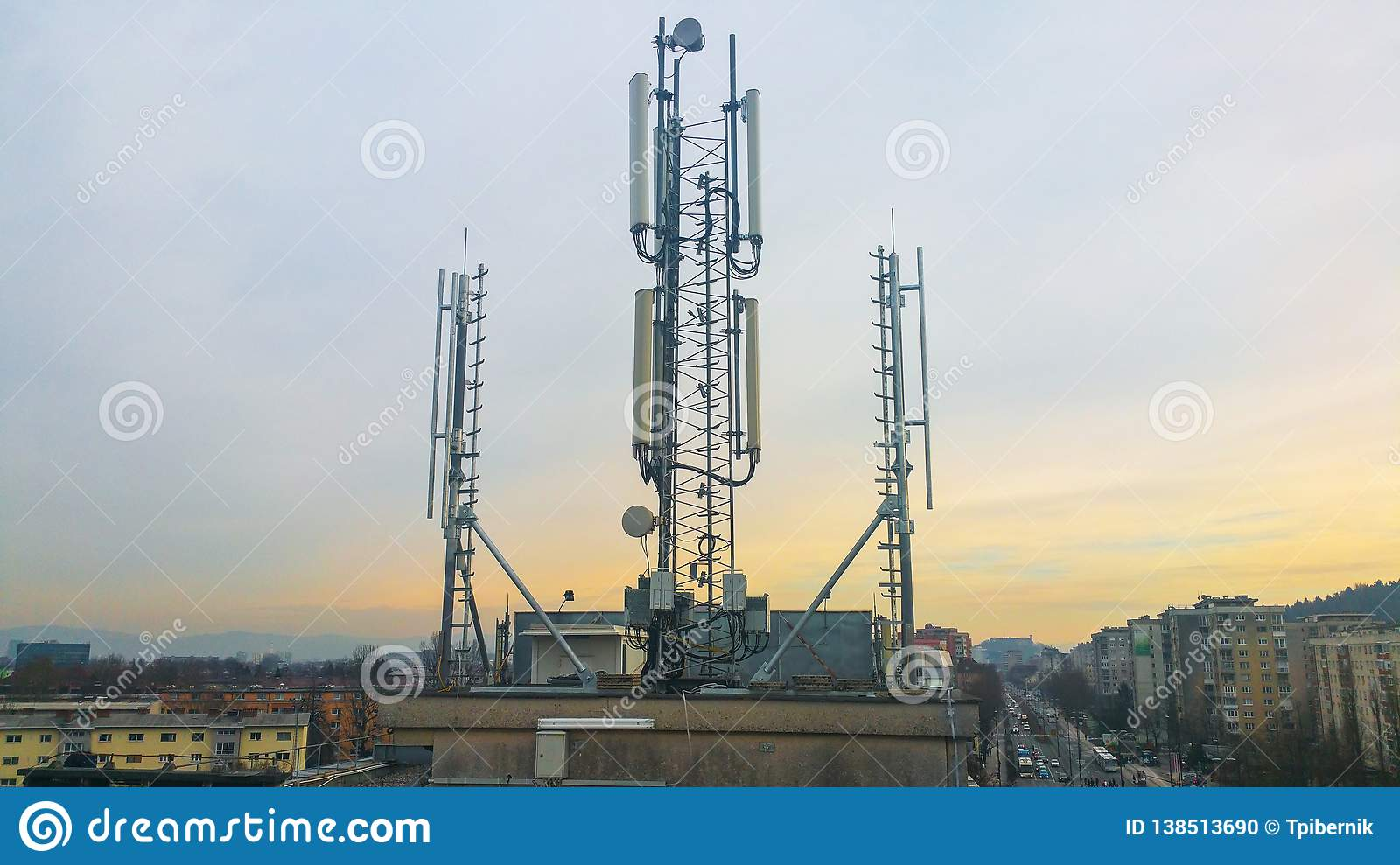 Cellular network antenna radiating and broadcasting strong power signal waves