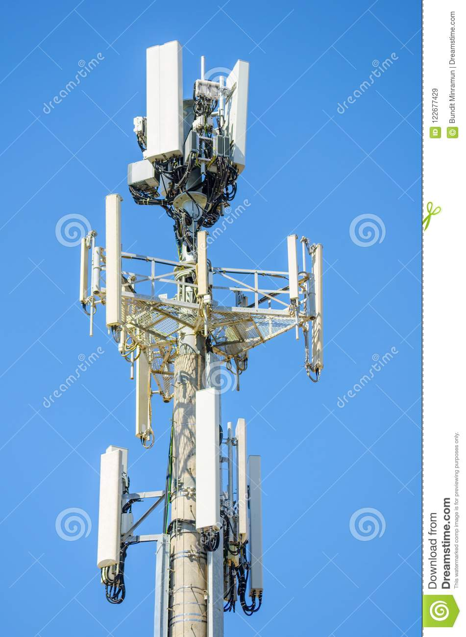 Cellular Radio Antenna With Cable For The Telecommunications Tower Isolated  On Blue Sky Background. Stock Image - Image of cellular, metal: 122677429