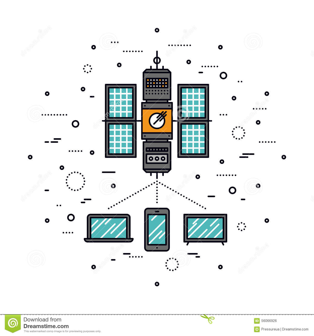 Transmission Stock Illustrations 26835 Circuit Board And Binary Code Vector Clipart Of Cellular Line Style Illustration Thin Flat Design Lte Based On
