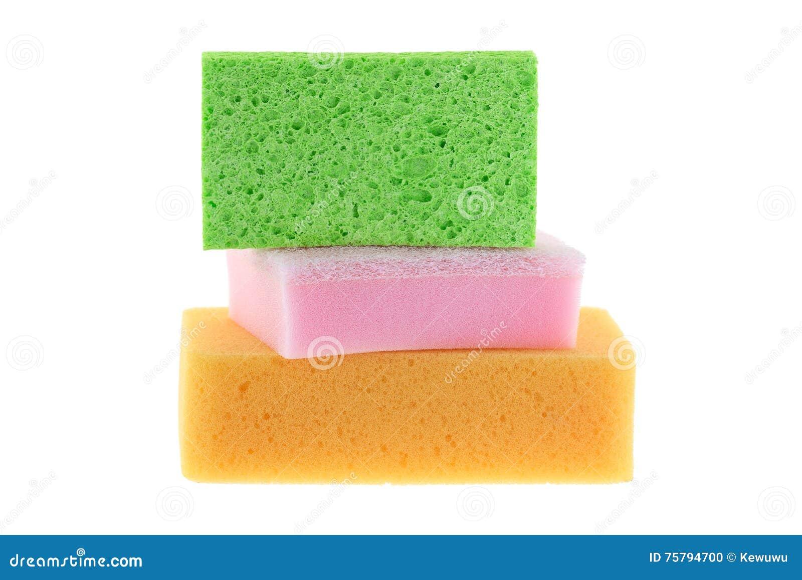 Cellulose sponge, dish washing sponge with scrub and multi purpose sponge isolated on white