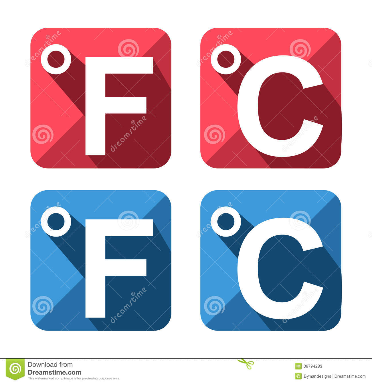 Celsius And Fahrenheit Symbol Icon Set Stock Vector Illustration