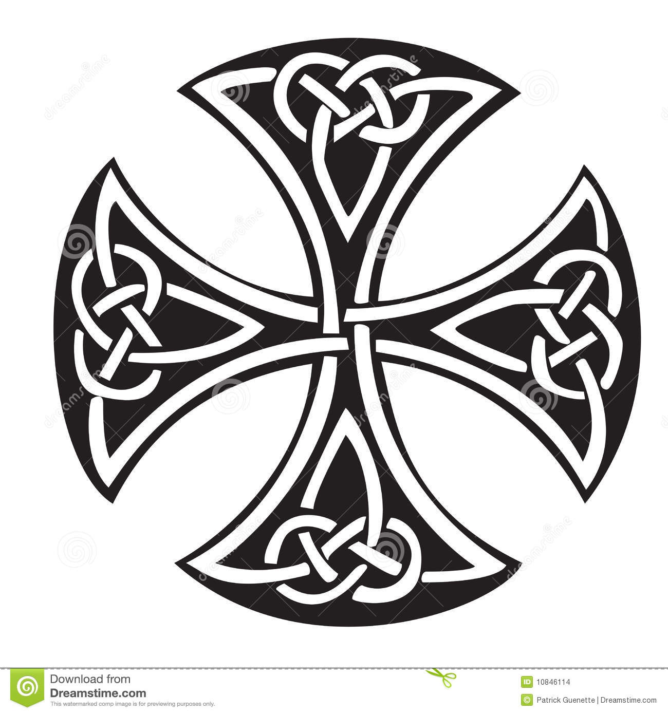 An illustration of a Celtic cross with a beautiful design, isolated on ...