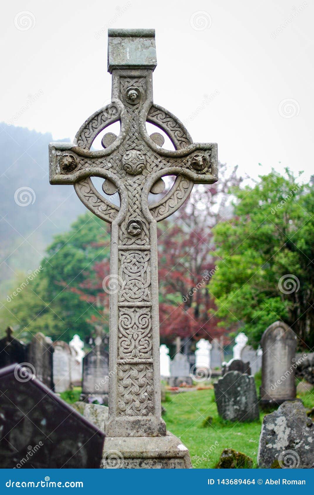 Celtic cross in a cementery at Glendalough Ireland