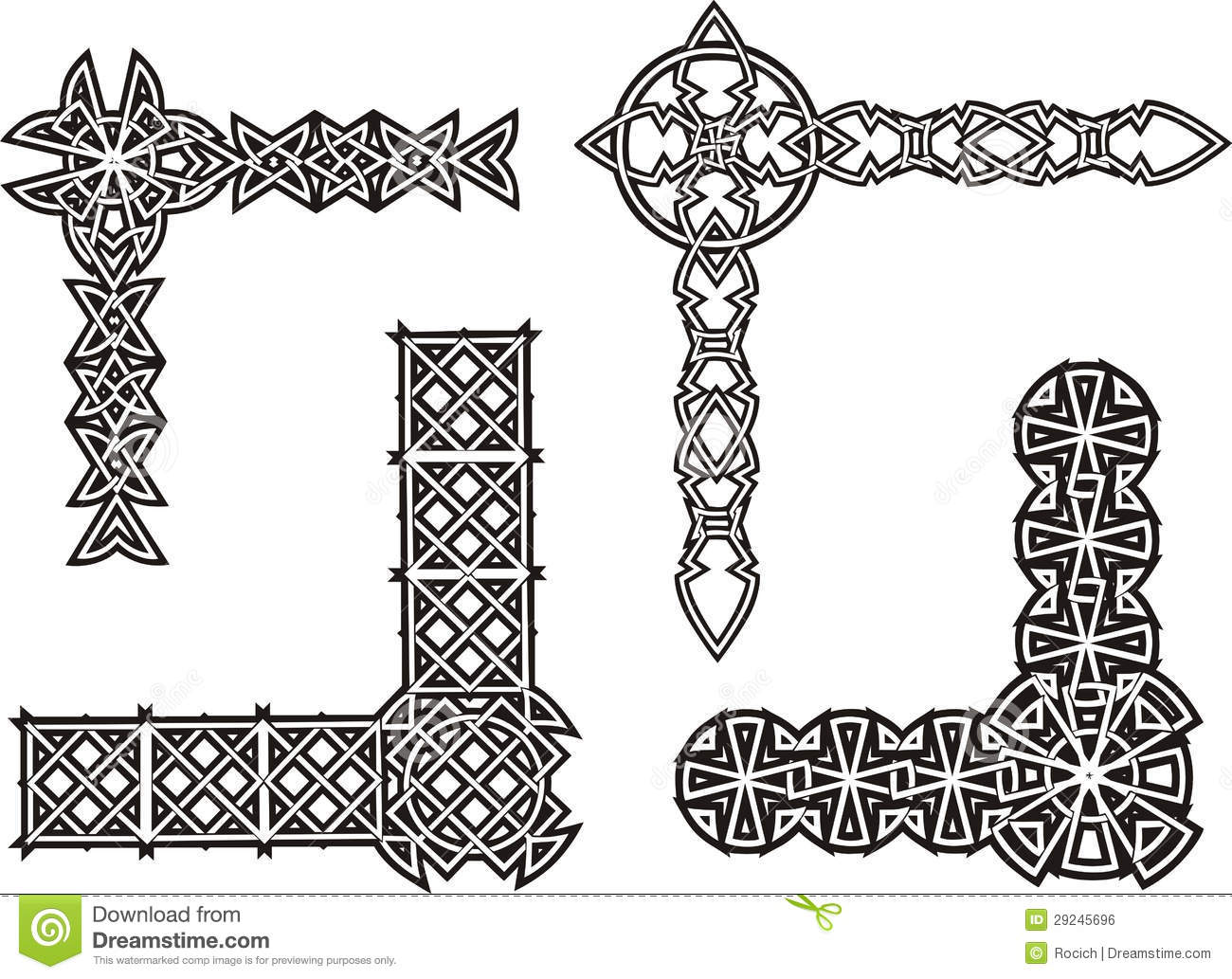 Celtic Decorative Knot Corners Stock Vector Illustration