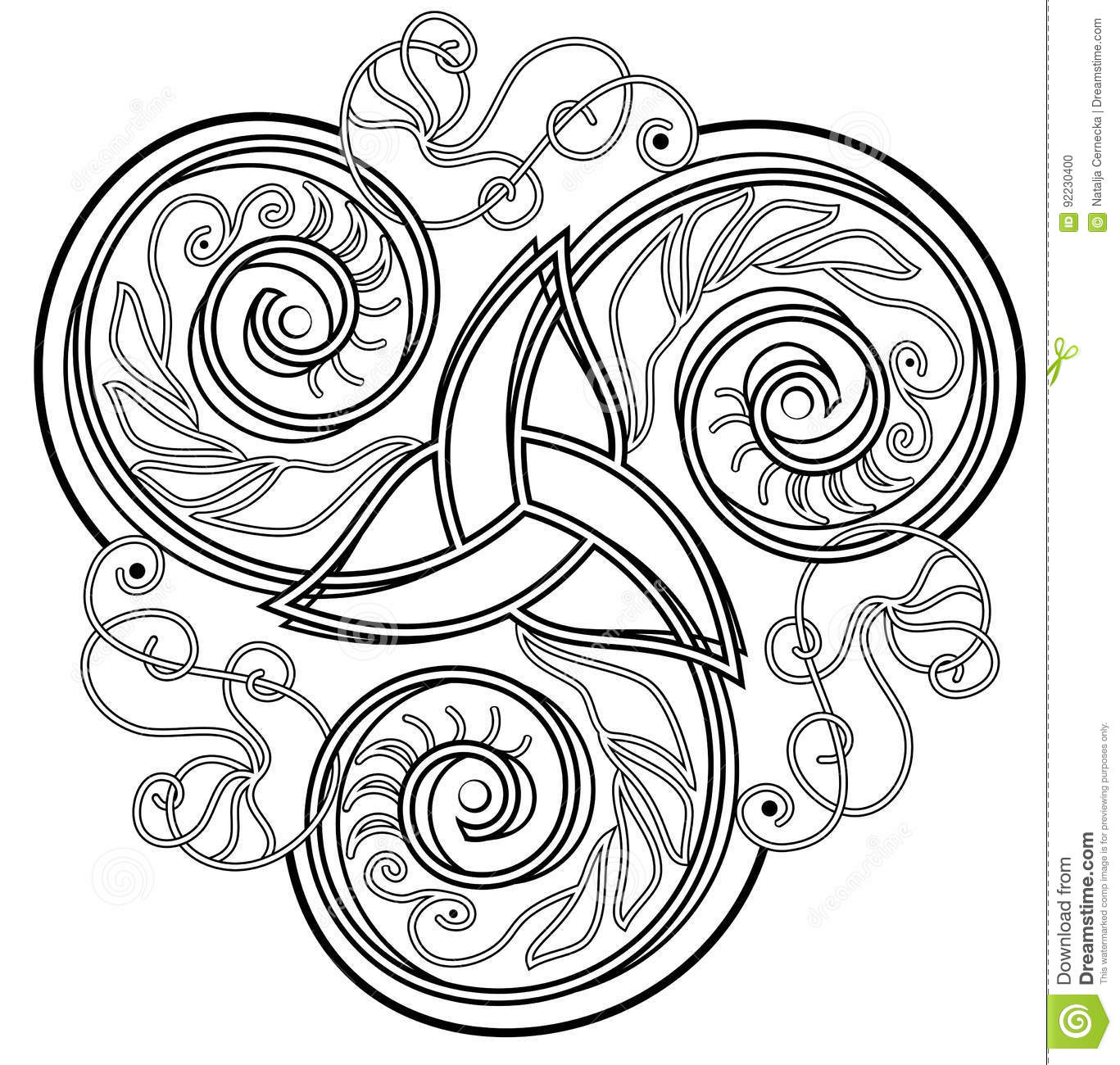 Celtic Disk Ornament With Triple Spiral Symbol Black And White
