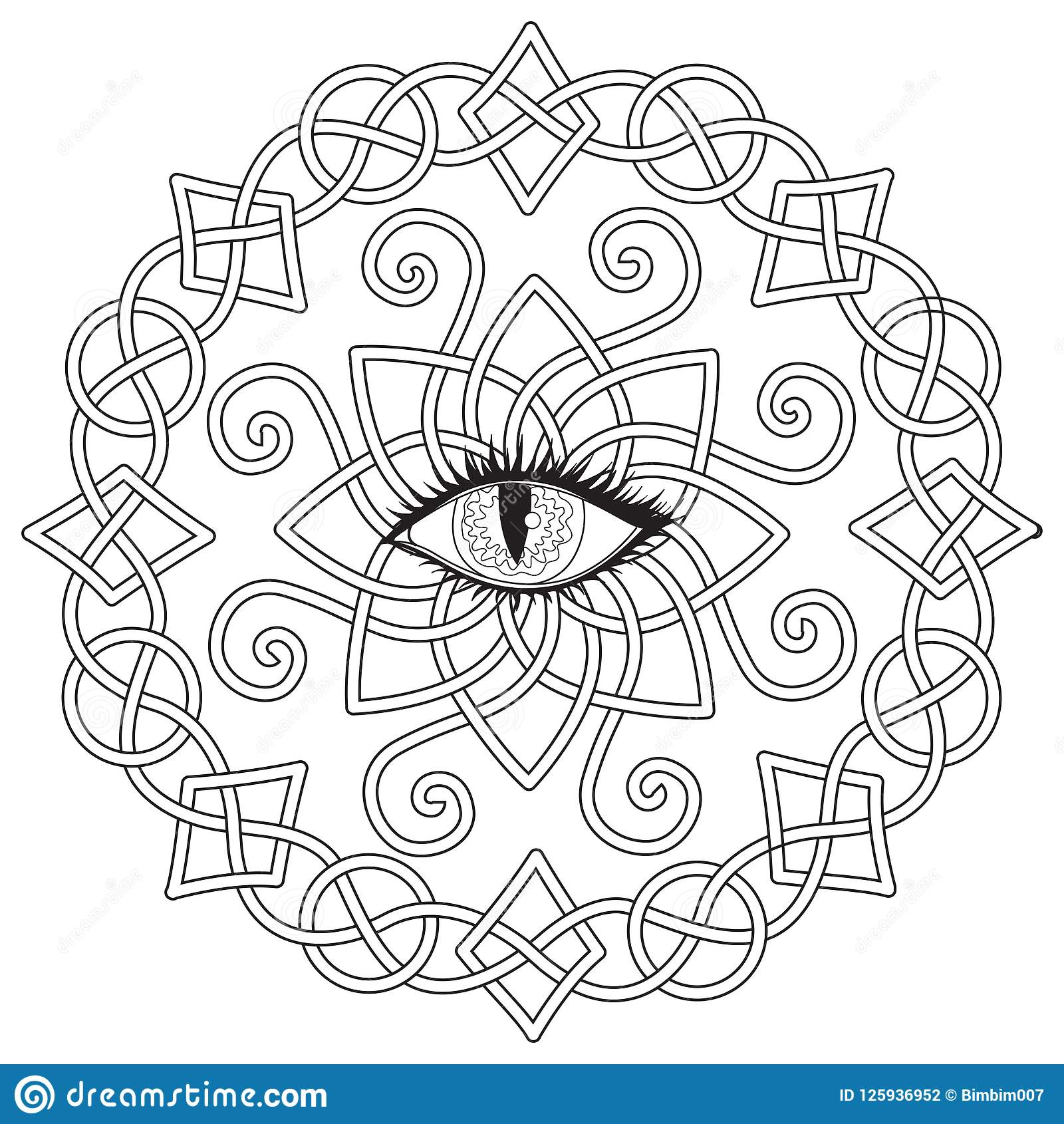 Celtic Frame With Vampire Eye In The Middle, Halloween Theme For ...