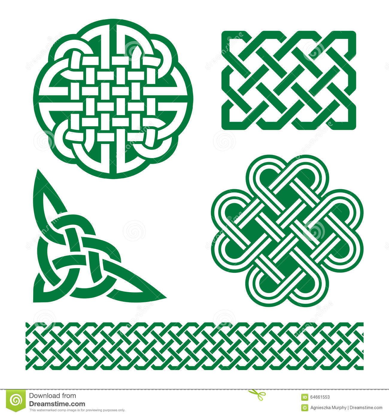 Celtic Green Knots Braids And Patterns St Patricks Day In