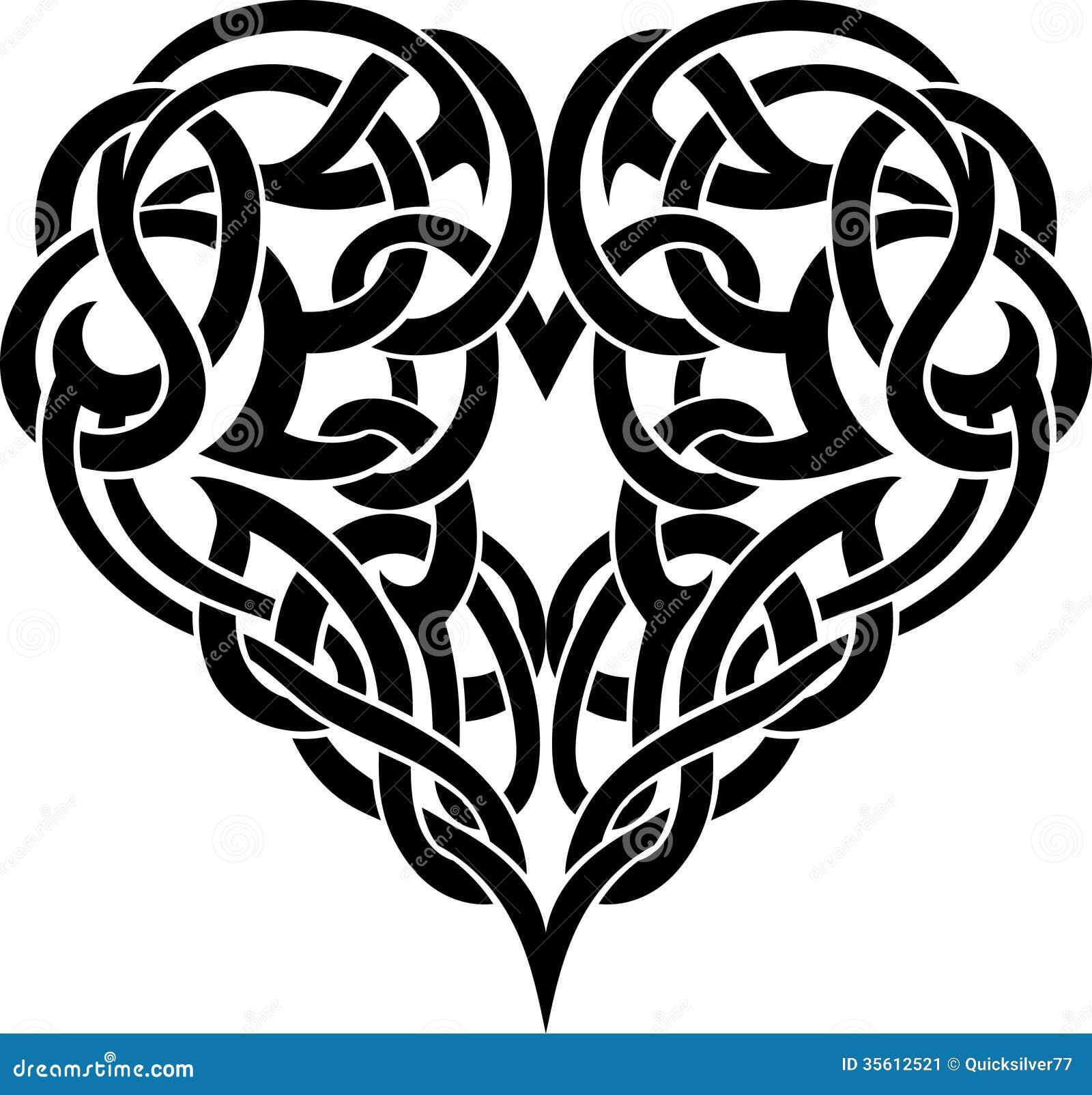 Celtic Heart Tattoo Stock Illustration Illustration Of Decor 35612521