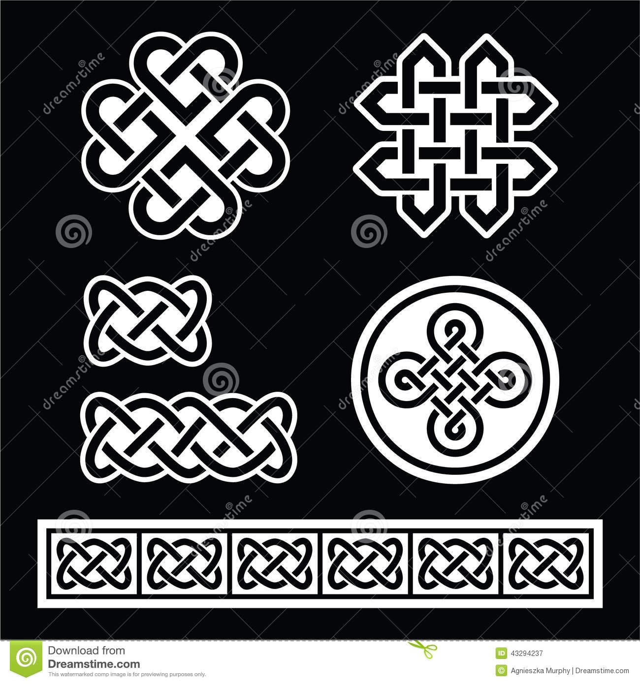 Celtic Irish Patterns And Braids On Black Background Stock