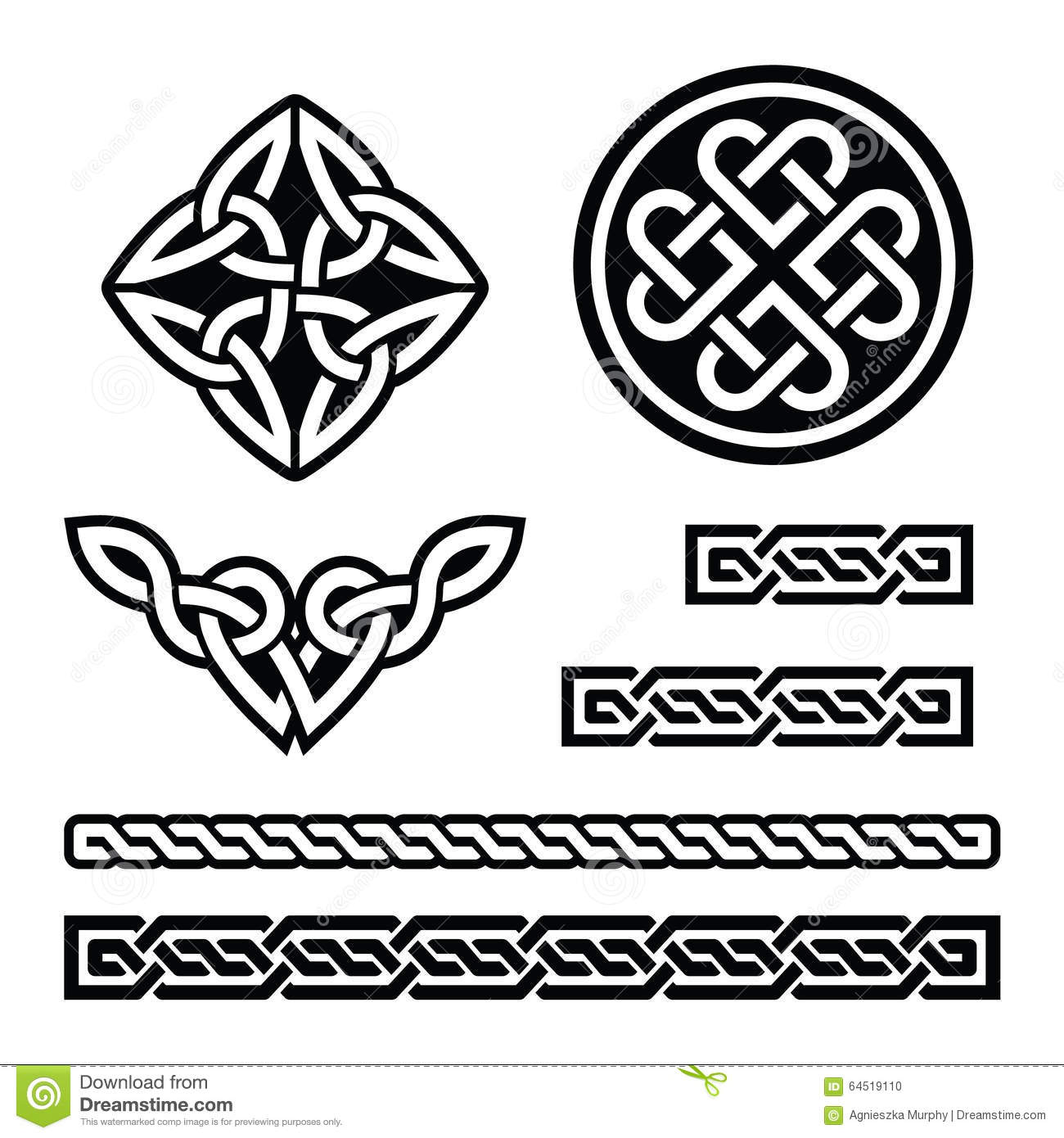 Celtic Irish Patterns And Braids Vector St Patricks Day Stock