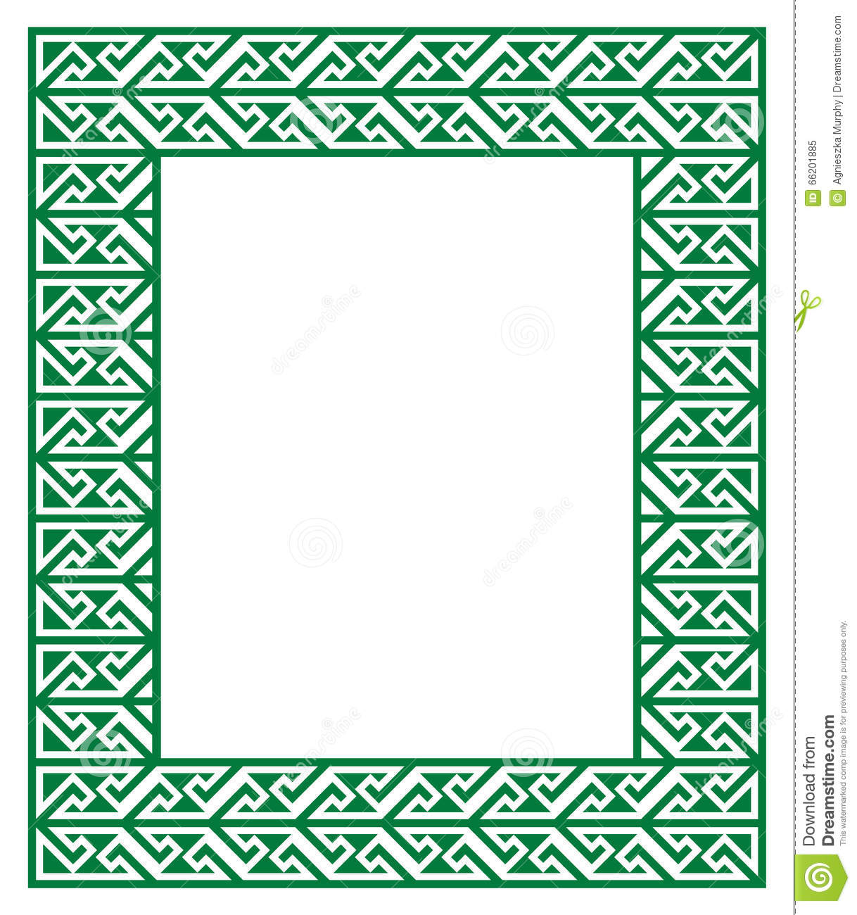Stock Illustration Celtic Key Pattern Green Frame Border Irish Black White Image66201885 on Green Spiral Symbol