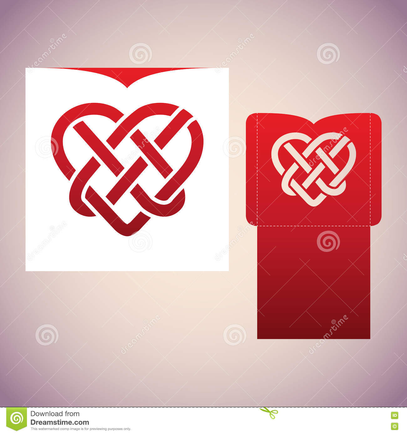 Celtic Knot In The Form Of Heart. Laser Cutting Template. Stock ...