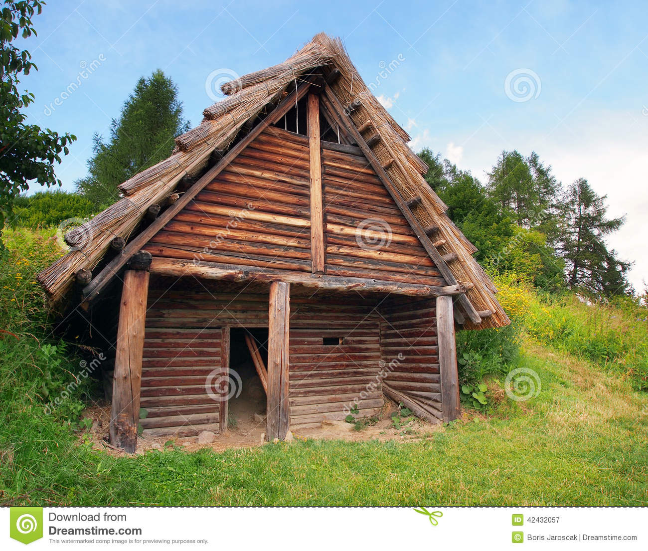 a celtic log house havranok slovakia stock image image 42432057. Black Bedroom Furniture Sets. Home Design Ideas