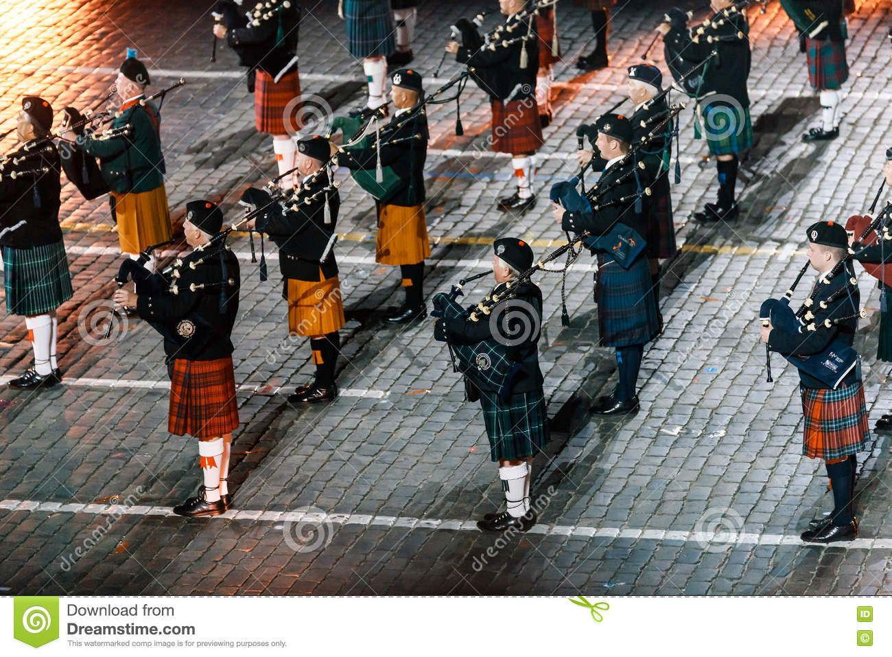 The Celtic Massed Pipes and Drums at the Red Square