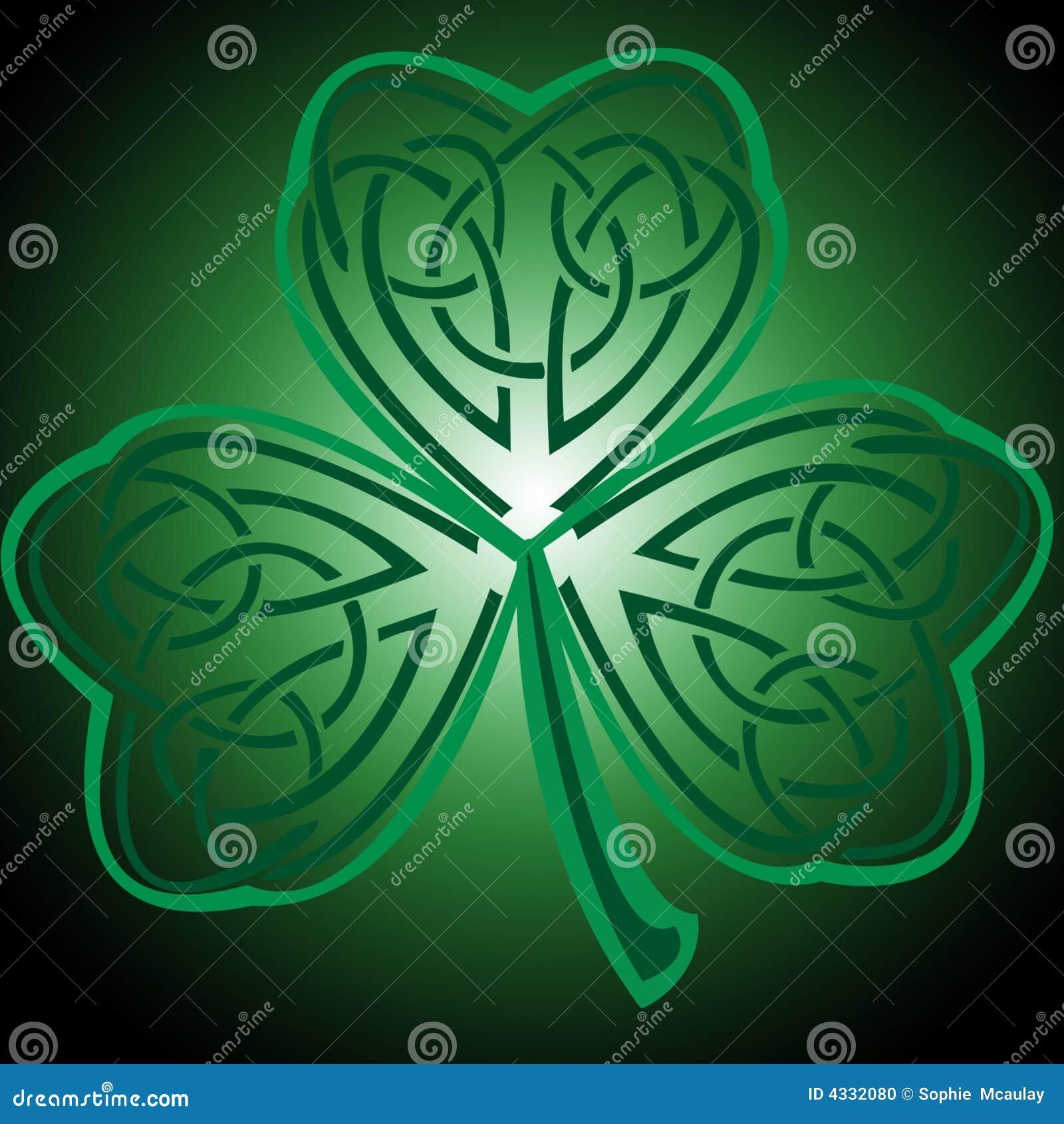 Celtic Cross With Shamrock Celtic shamrock stock photo