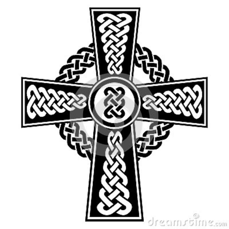 Celtic Style Cross With Eternity Knots Patterns In White And Black