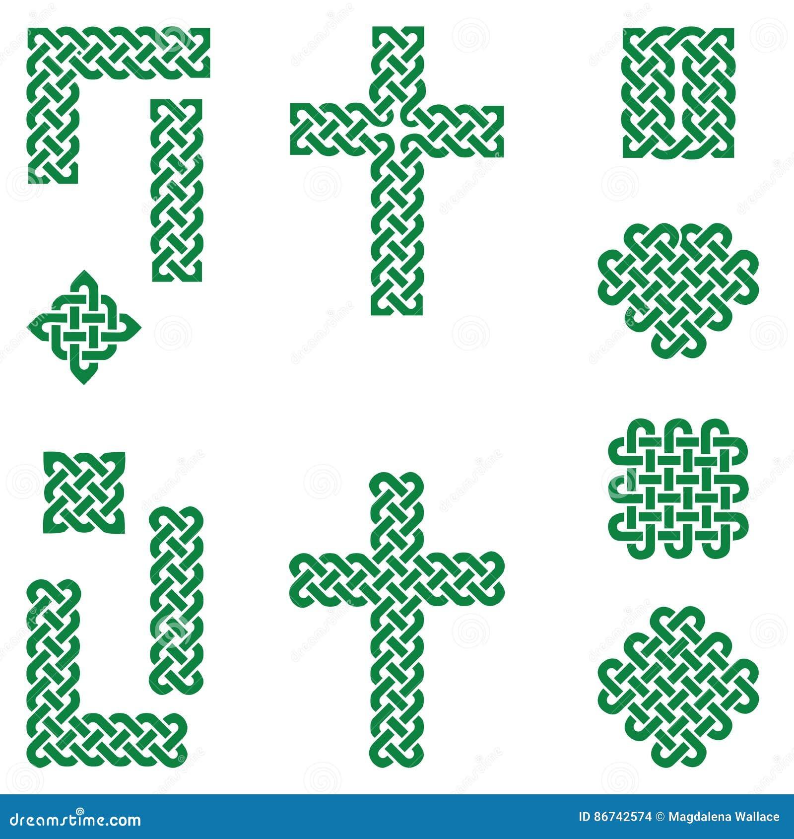 Celtic Style Endless Knot Symbols Including Border Line Heart
