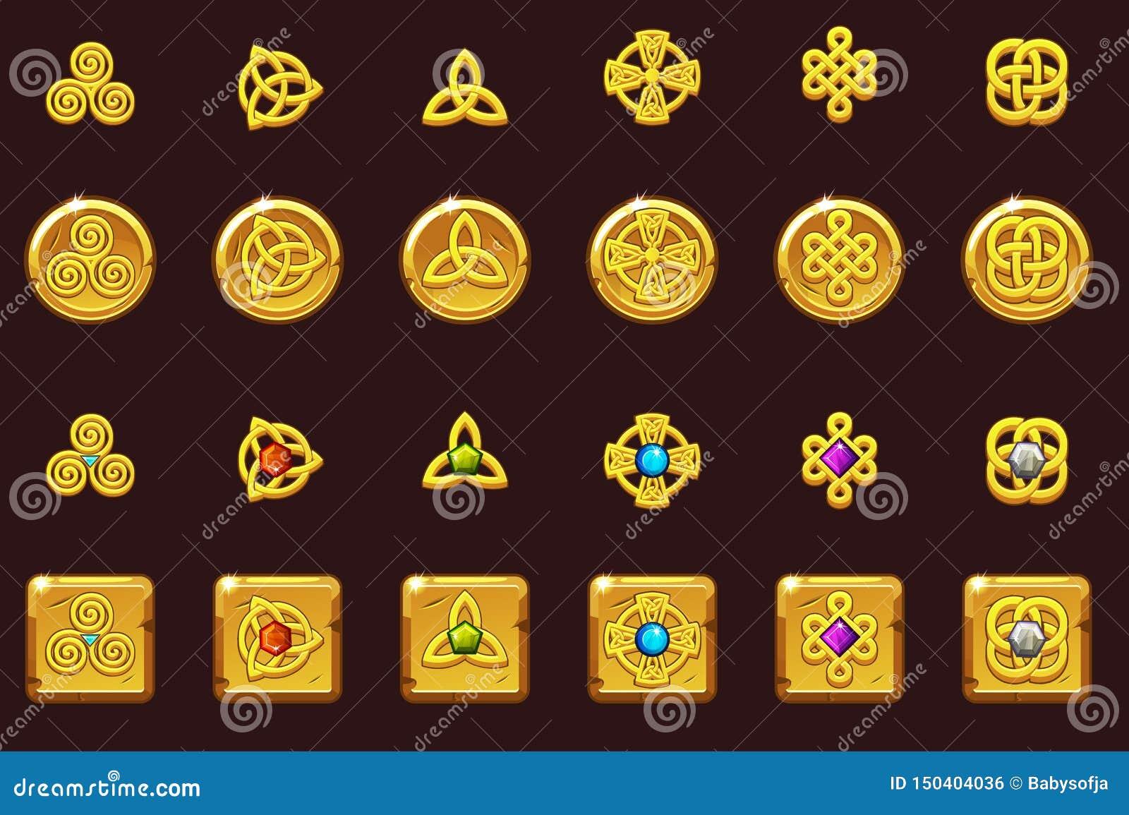 Celtic symboler för fastställda symboler med ädelstenar Guld- mynt och fyrkant med ädelstenar Tecknade filmen ställde in celtic s