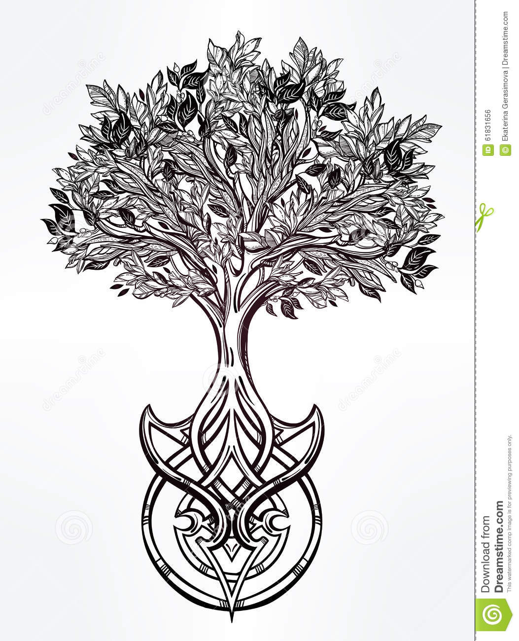 Hand drawn romantic beautiful drawing of Tree of life. Vector ...