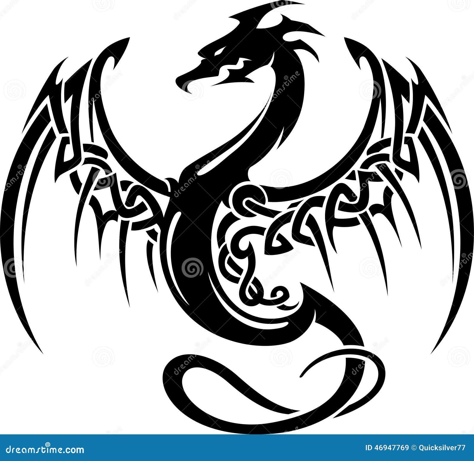 Celtycki Smoków Skrzydeł Tatuaż Ilustracji Ilustracja