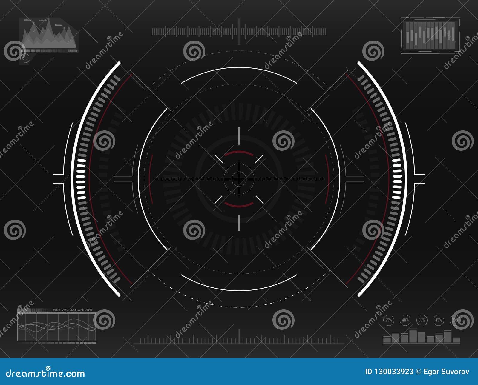 Celu system Futurystyczny dążący pojęcie Nowożytny crosshair Fantastyka naukowa HUD interfejs UI z infographic elementami Statek