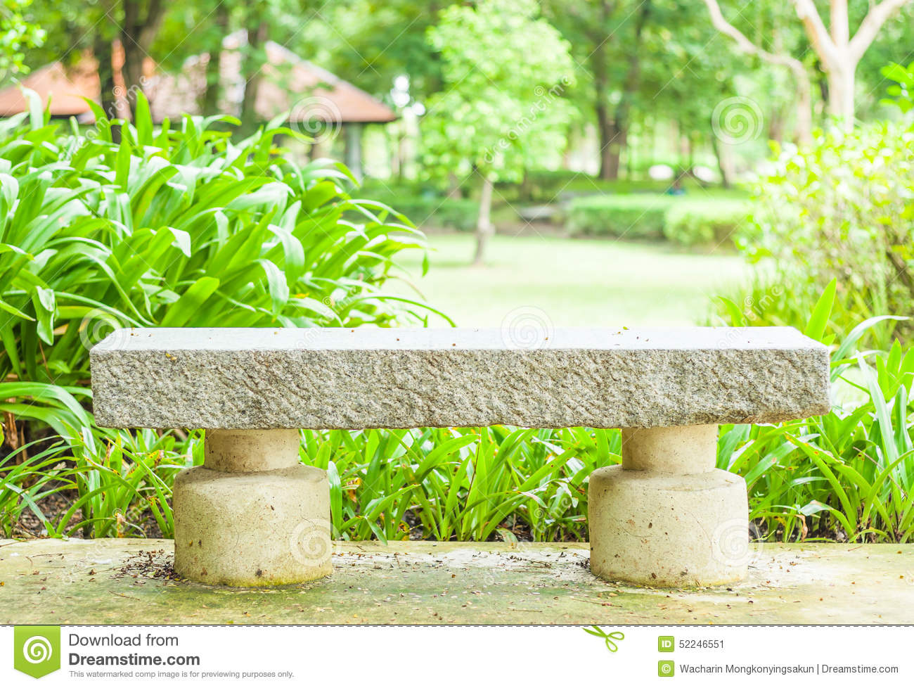 Cement bench in the park stock image. Image of gardening - 52246551 for Park Background With Bench  575lpg