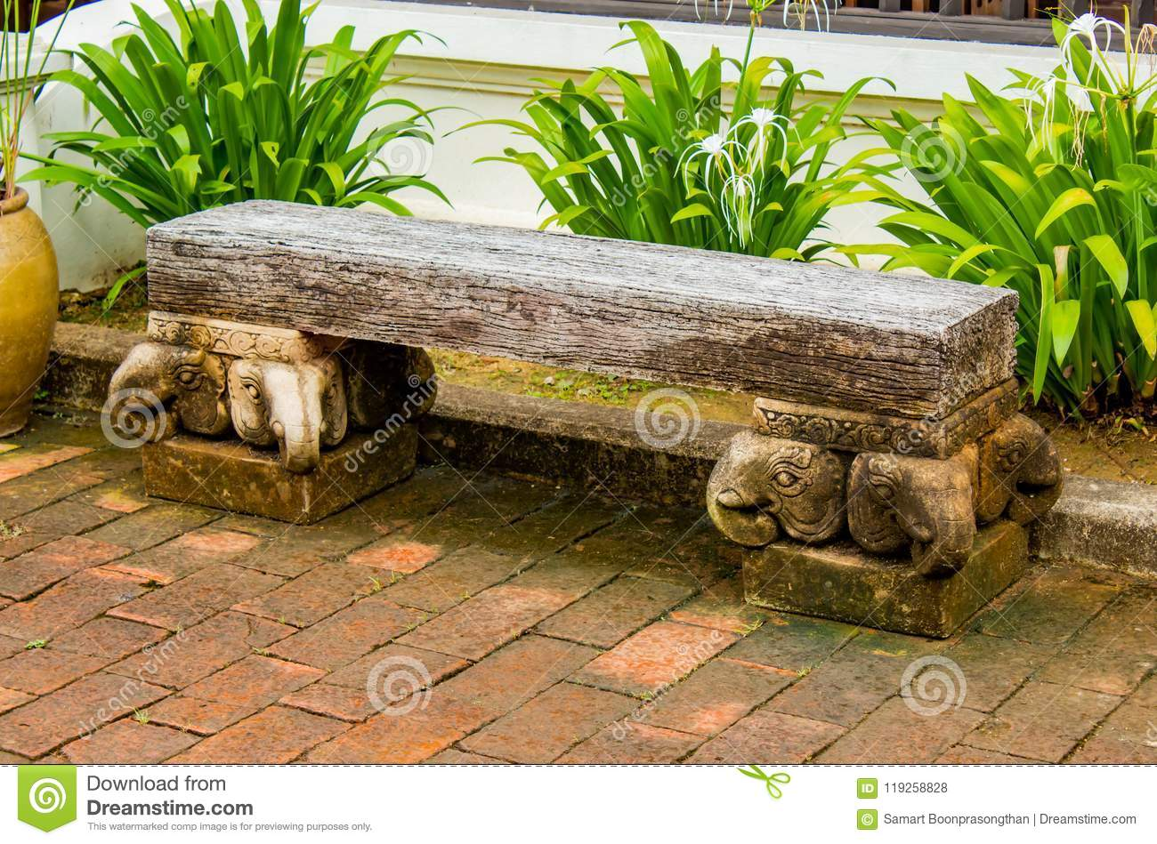 The Cement Chairs The Corridors Garden. Stock Photo - Image of color ...