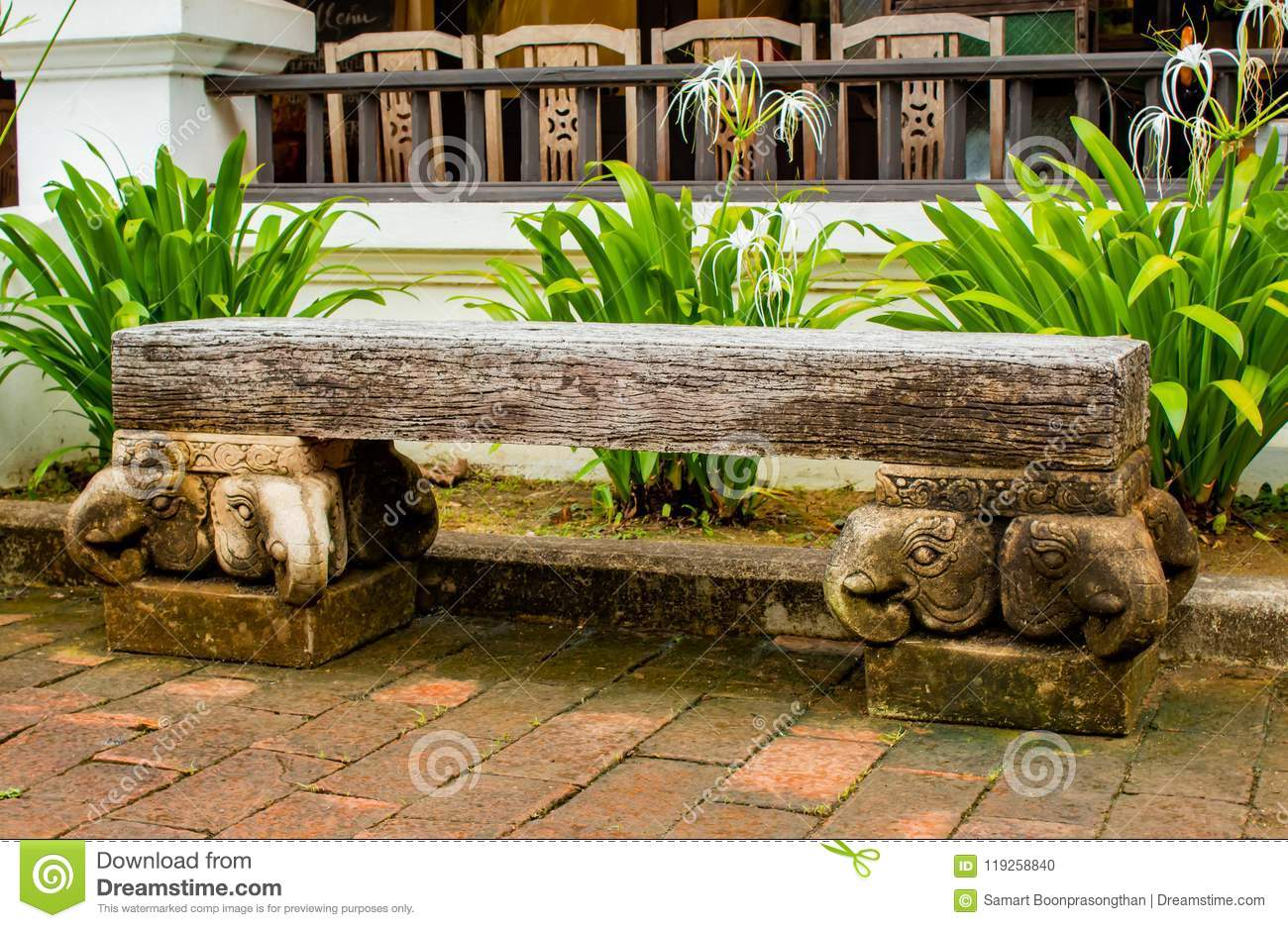 The Cement Chairs The Corridors Garden. Stock Photo - Image of ...
