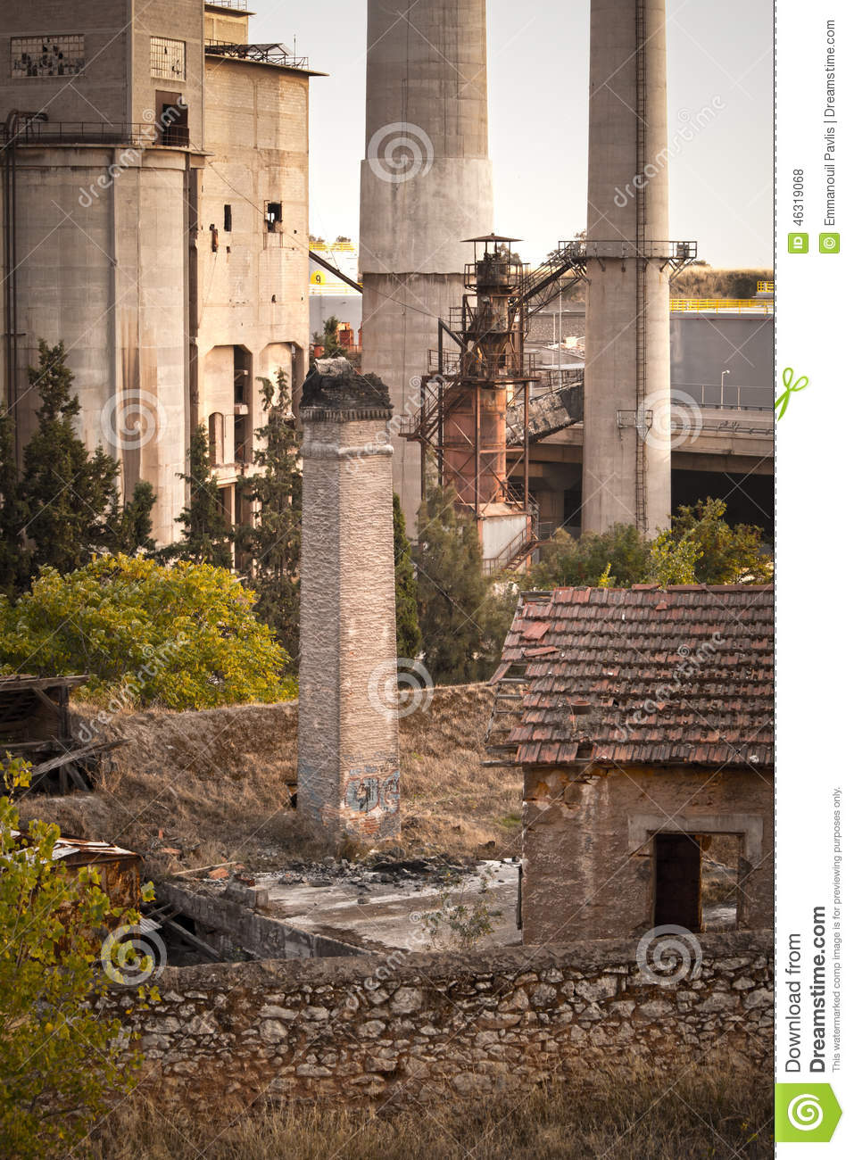 Cement Factory Stock Photo. Image Of Detail, Chimney