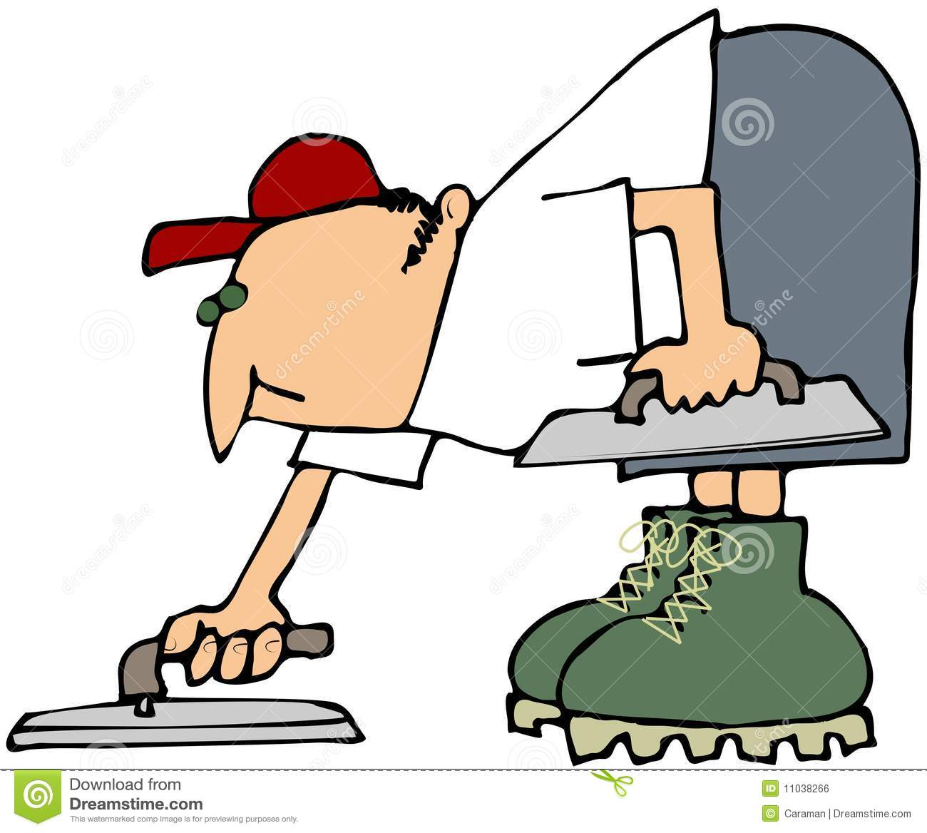 Illustrations Of A Trowel : Cement finisher stock illustration of worker