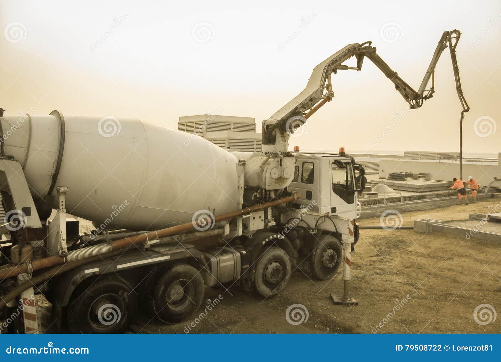 Cement mixer on construction site