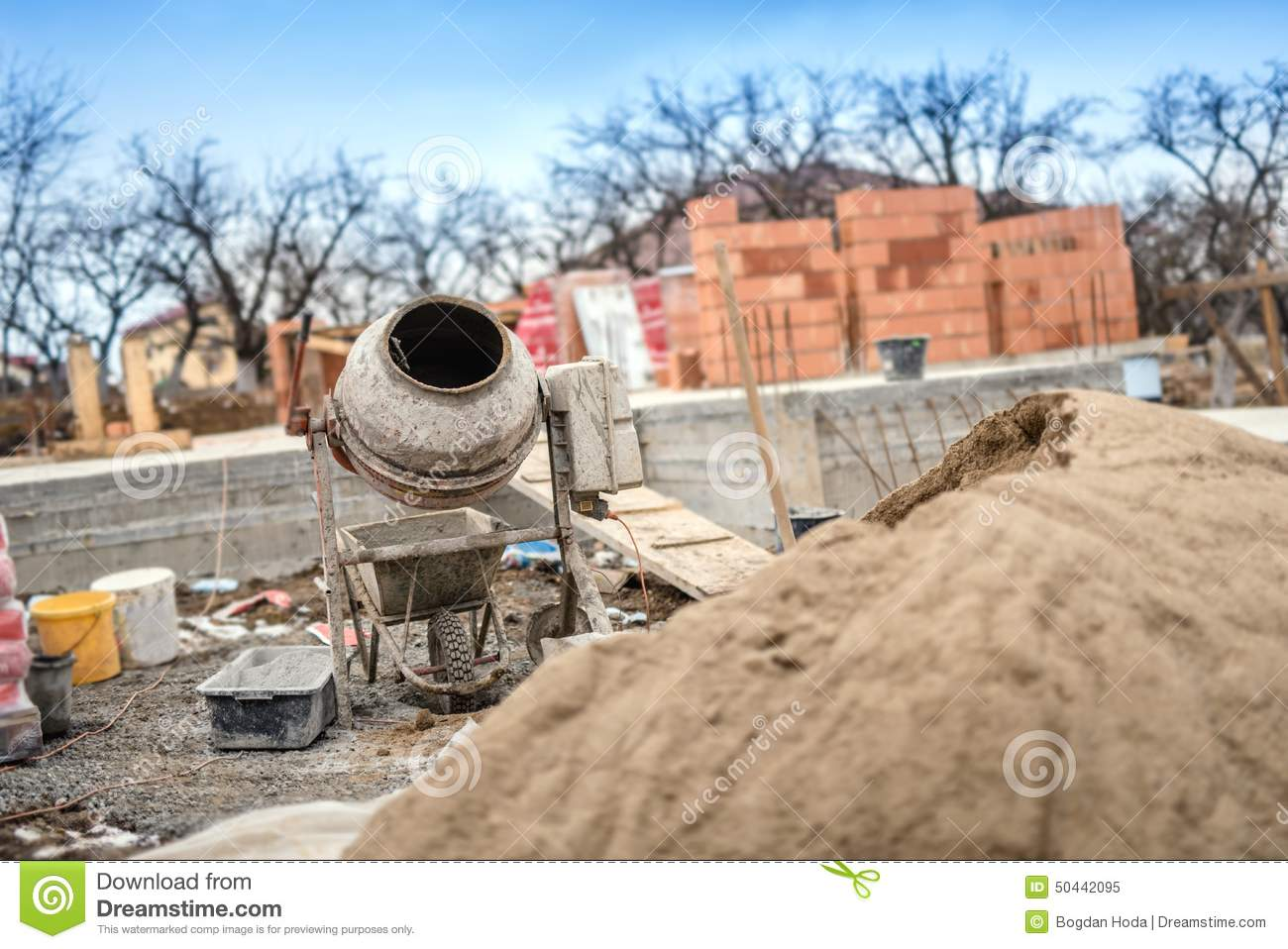 Cement Mixer Machinery Used On Construction Site For Preparing