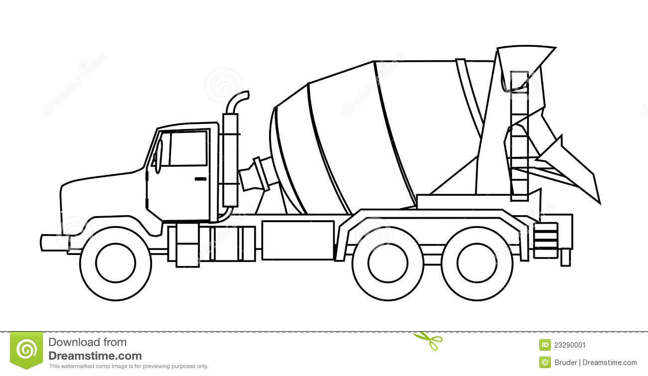 Cement mixer truck stock vector illustration of for White cement art