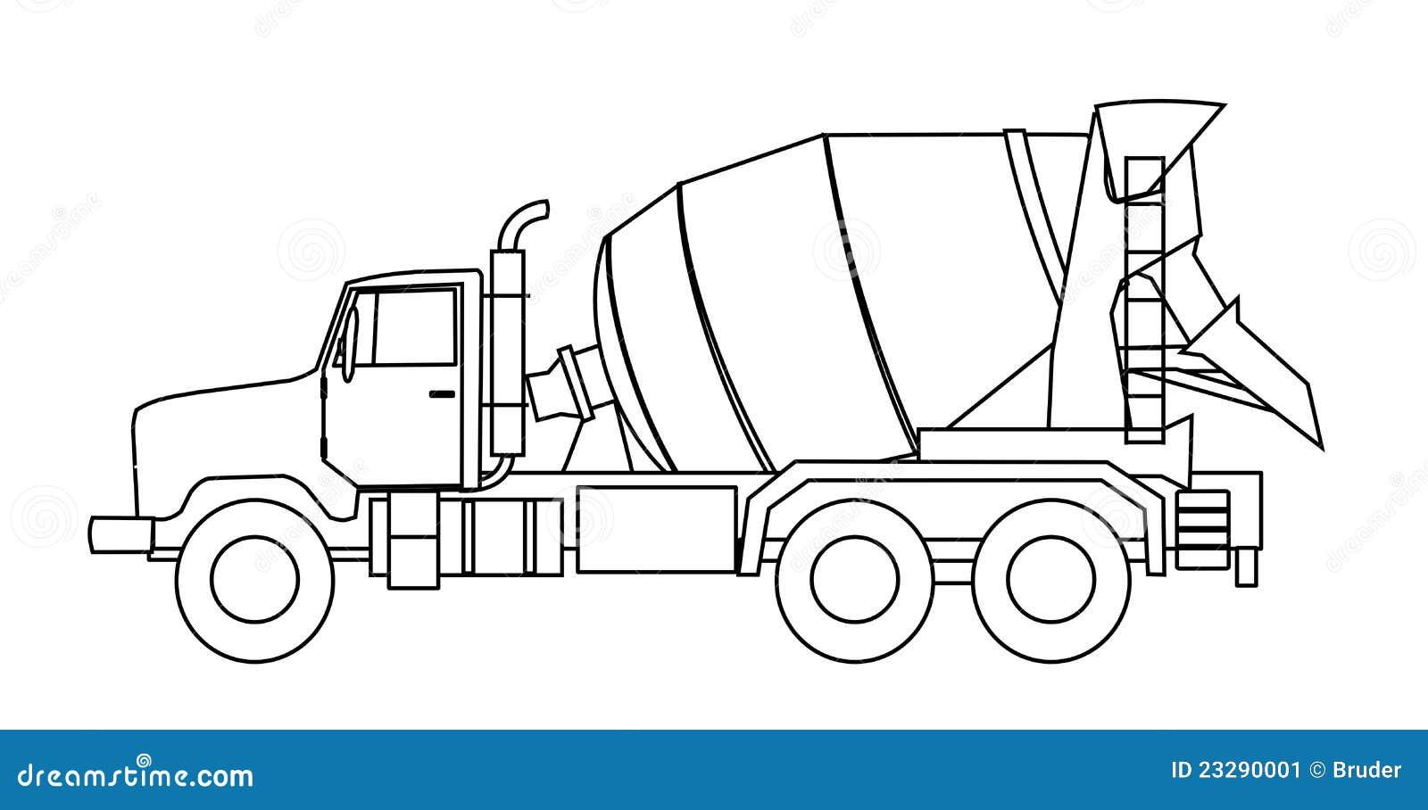 Cement Mixer Truck Stock Vector Illustration Of Contractor