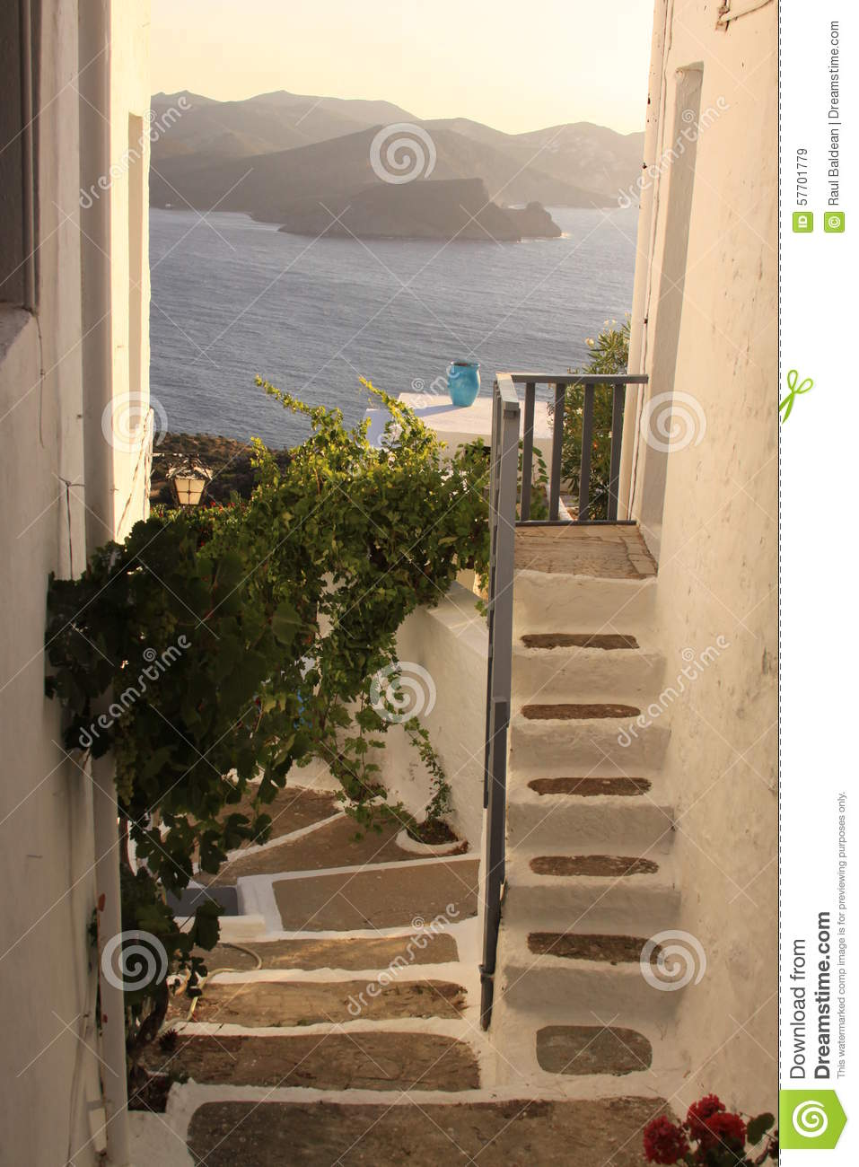 Cemented stairs at a greek house on Milos island