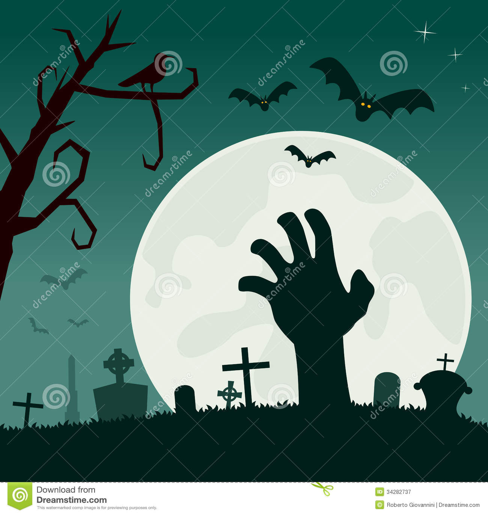 Cementerio con la mano del zombi