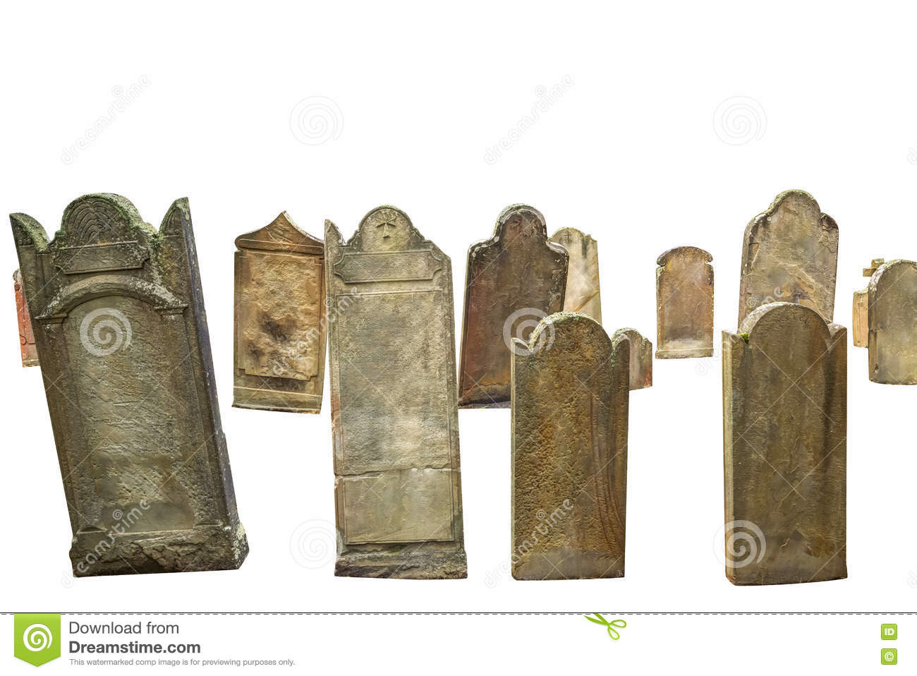Cemetery graves isolated