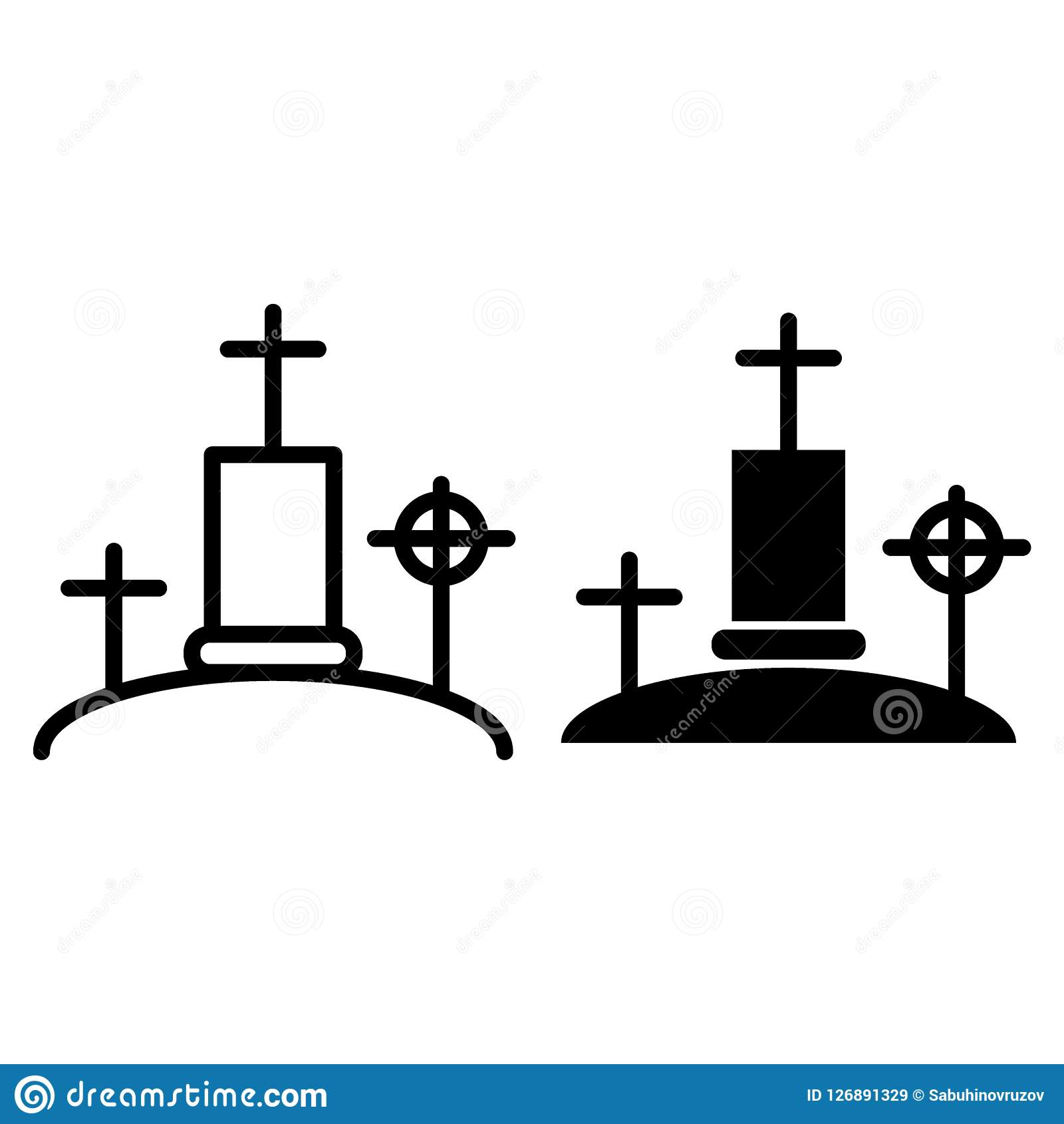 Cemetery Thin Line Icon  Graveyard Web Vector Illustration