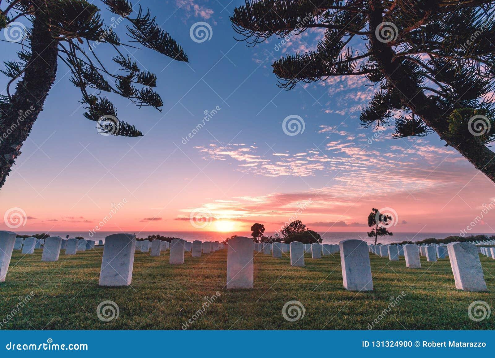 Cemitério nacional de Rosecrans do forte, Point Loma, San Diego, Califor