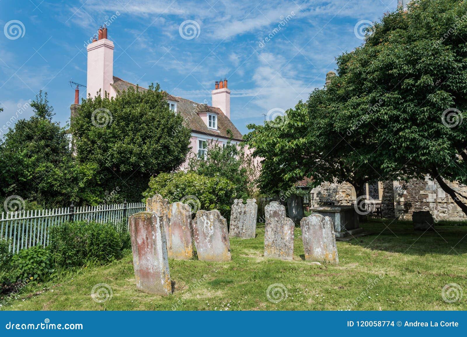 Cemitério velho em Rye em Sussex do leste
