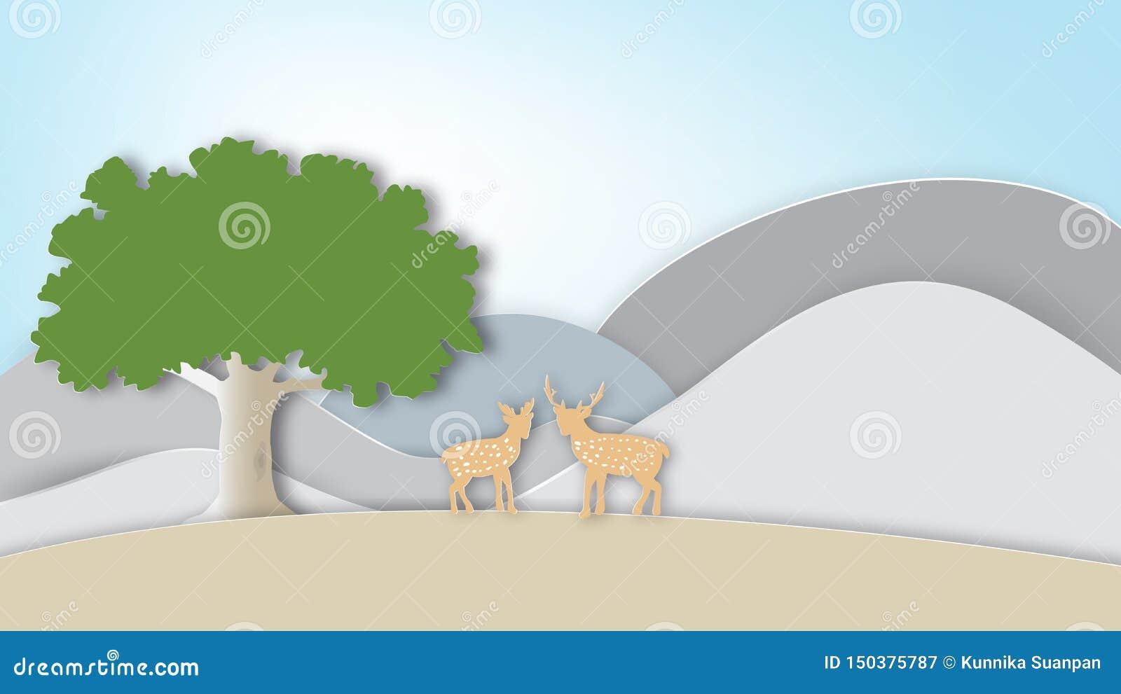 Cenário da natureza com cervos e montanhas dos pares