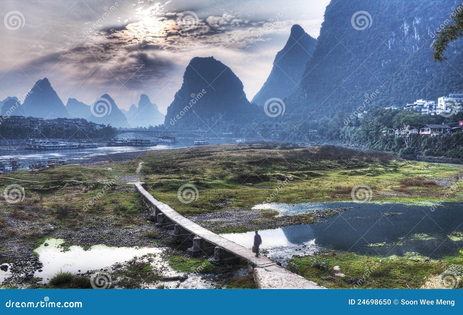 Cenário de Yangshuo de China Guilin