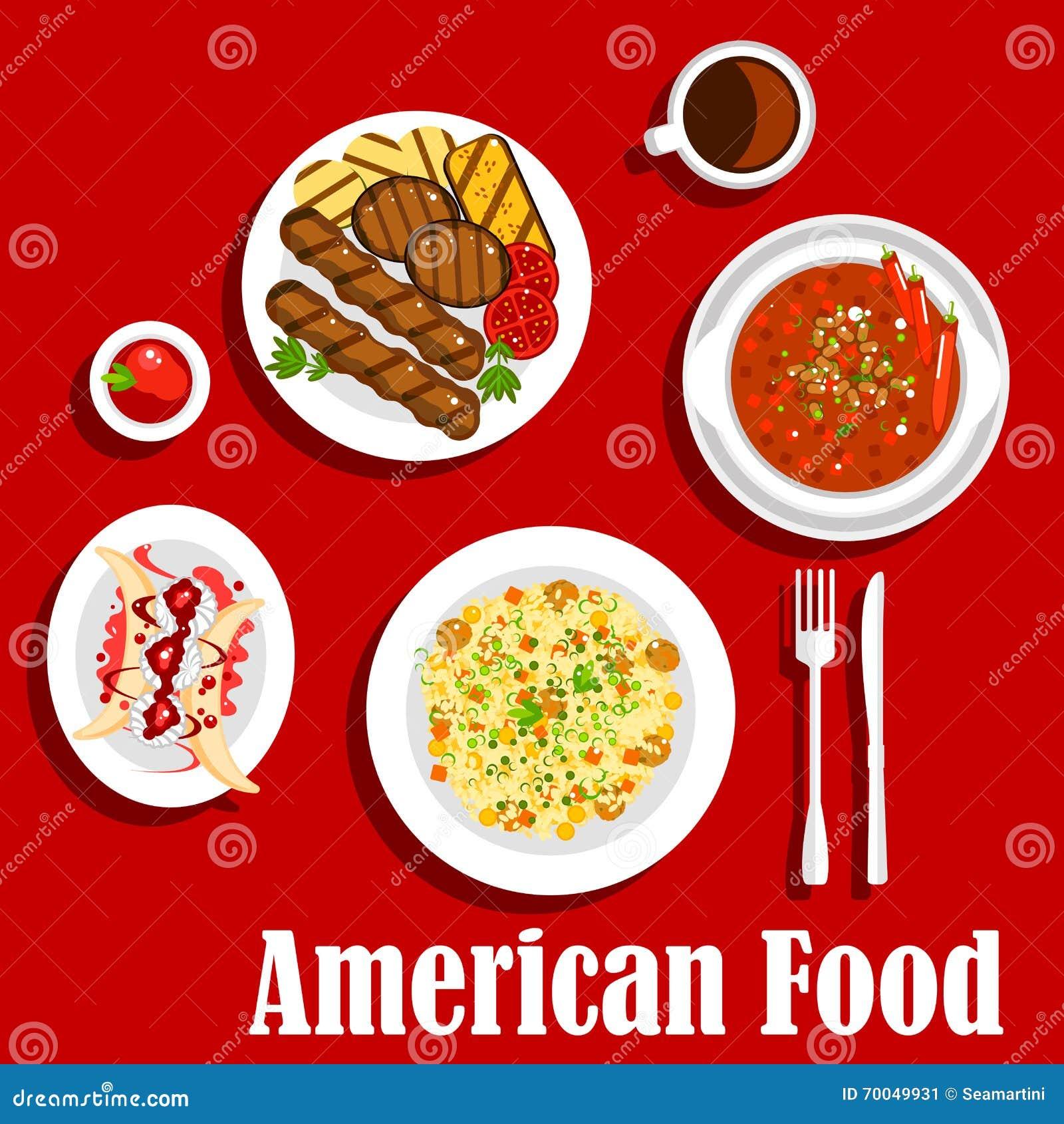 Cena americana con el icono asado a la parrilla de la carne y de los chiles