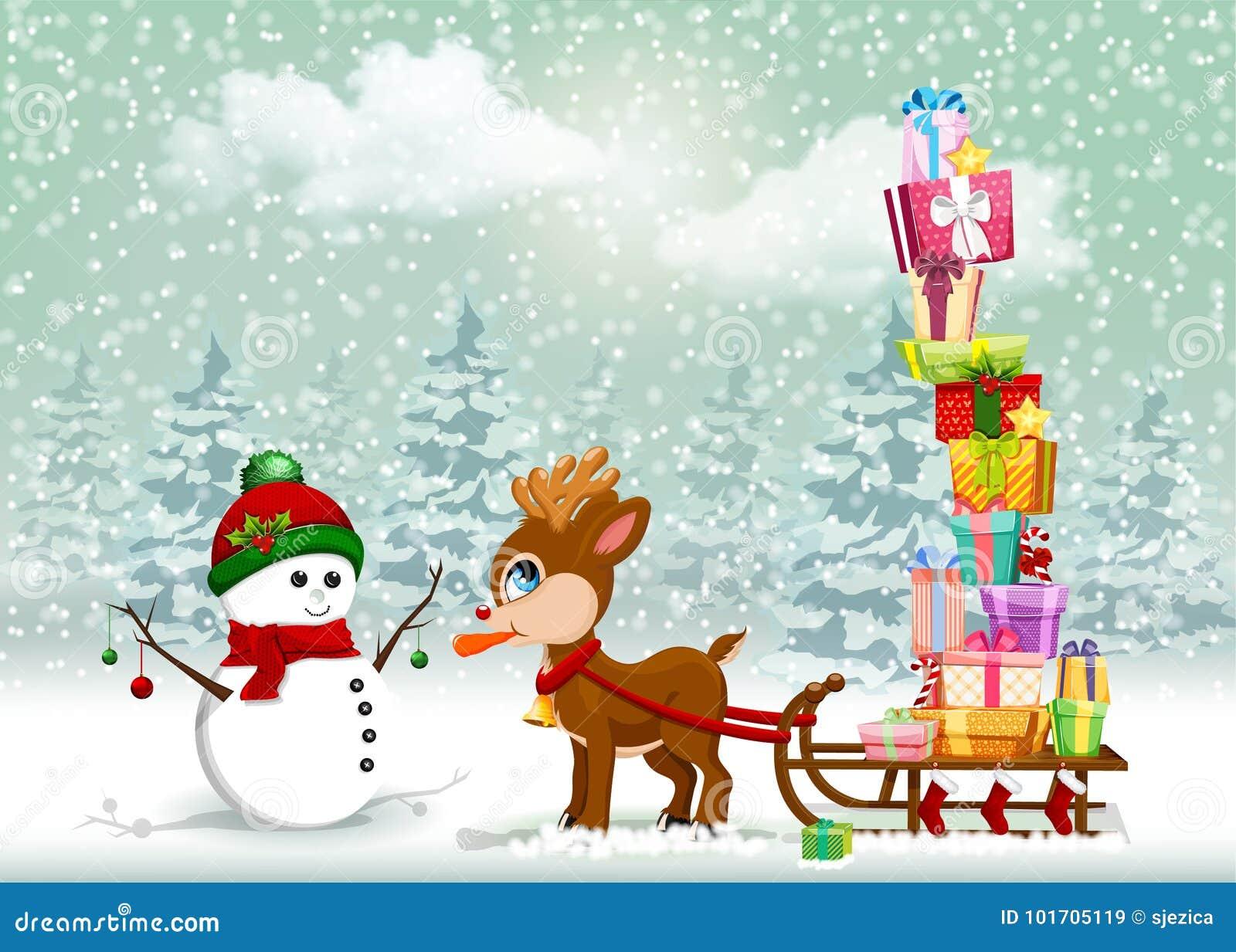 Cena bonito dos desenhos animados de Cristmas com rena e boneco de neve