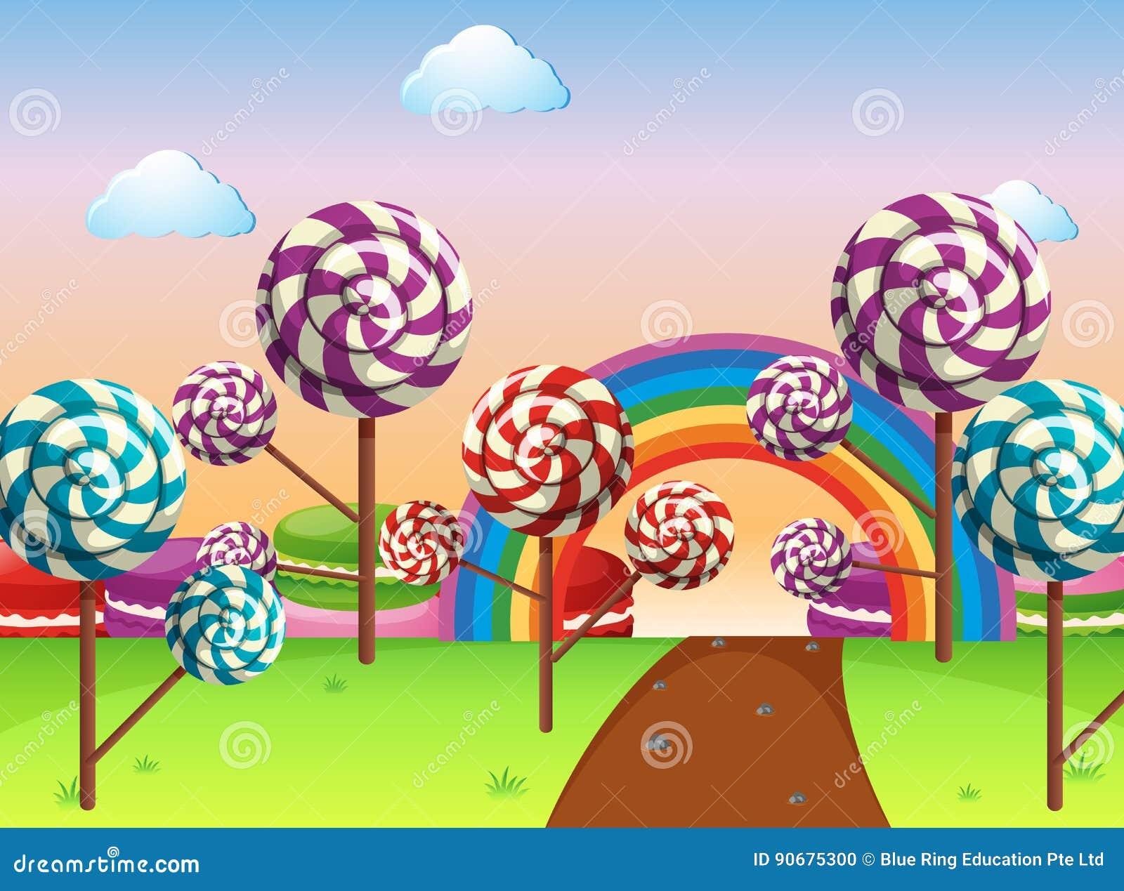 Cena com campo dos doces